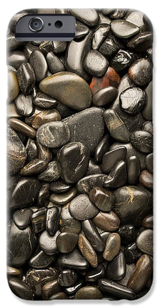 Pebbles iPhone Cases - Black River Stones Portrait iPhone Case by Steve Gadomski