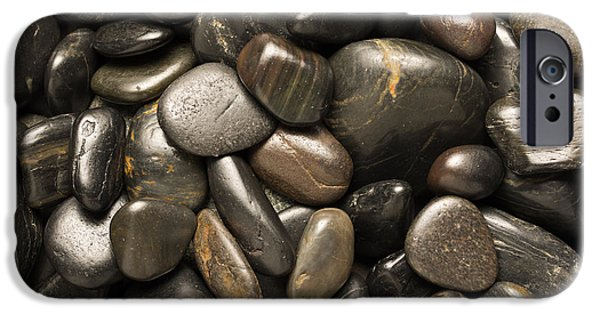 Pebbles iPhone Cases - Black River Stones Square iPhone Case by Steve Gadomski