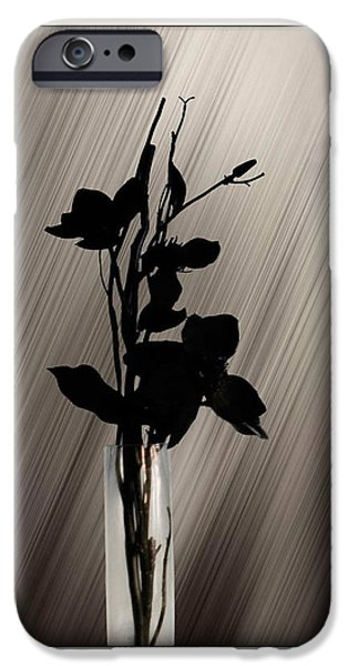 Floral Digital Art Digital Art iPhone Cases - Black Rose iPhone Case by Peter Leech