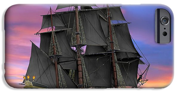 Pirate Ship iPhone Cases - Black Sails of the Caribbean iPhone Case by Glenn Holbrook