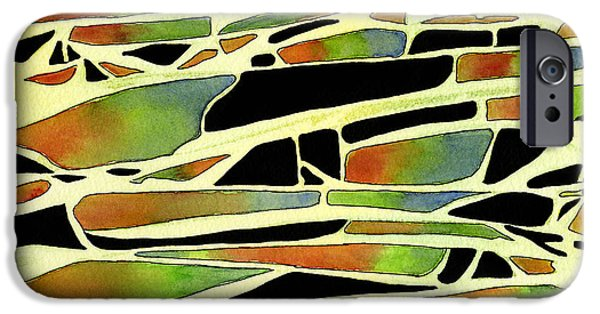 Sienna iPhone Cases - Black Sienna Green Blue Abstract Ink and Watercolor Design iPhone Case by Sharon Freeman