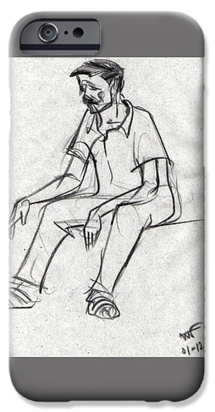 Virtual iPhone Cases - Black sketch am man tired after long journey iPhone Case by Makarand Joshi