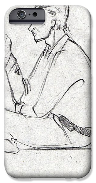 Virtual iPhone Cases - Black sketch busy with a cell phone iPhone Case by Makarand Joshi