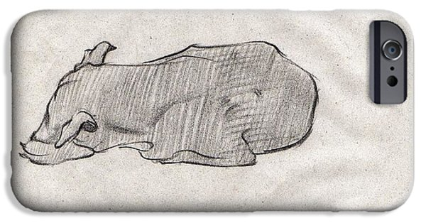 Virtual iPhone Cases - Black sketch of A dog sleeping from front left  iPhone Case by Makarand Joshi