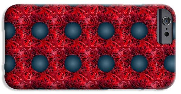 Geometric Artwork iPhone Cases - Black spheres pattern iPhone Case by Gaspar Avila