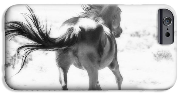 Nature Abstract iPhone Cases - Black Stallion Wild Horse iPhone Case by Jerry Cowart