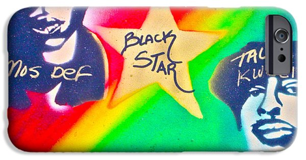 First Amendment Paintings iPhone Cases - Black Star iPhone Case by Tony B Conscious