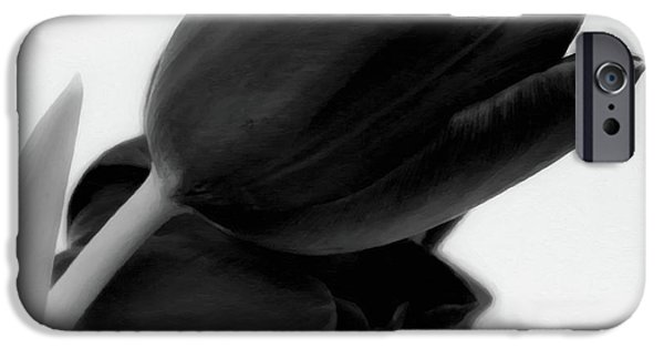 Floral Digital Art Digital Art iPhone Cases - Black Tulips iPhone Case by Wim Lanclus