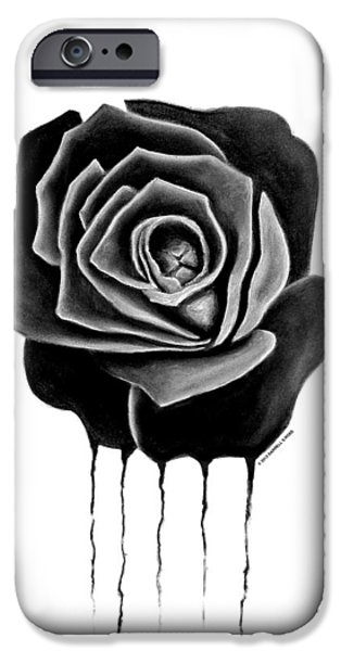 Weeping Drawings iPhone Cases - Black Weeping Rose iPhone Case by Darrell Ross