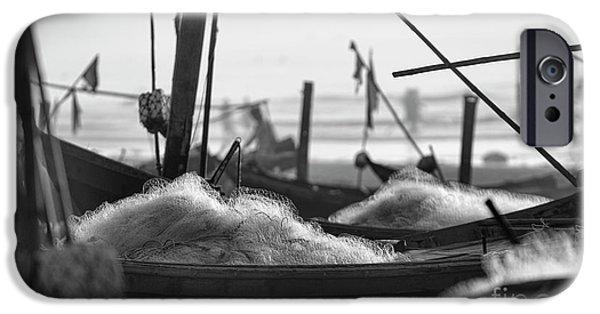 Boat iPhone Cases - Black White Fishing nets Hai Hau  iPhone Case by Chuck Kuhn