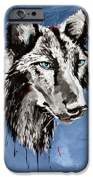 Wolf iPhone Cases - Black Wolf - Animal Art by Valentina Miletic iPhone Case by Valentina Miletic