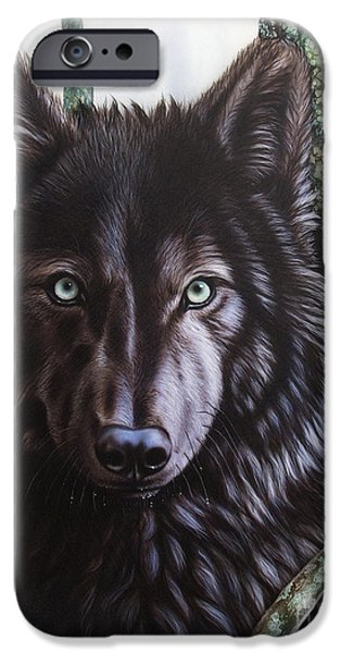 Airbrush iPhone Cases - Black Wolf iPhone Case by Sandi Baker