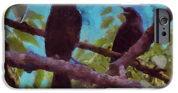 Crows iPhone Cases - Blackbirds Singing iPhone Case by Theresa Campbell