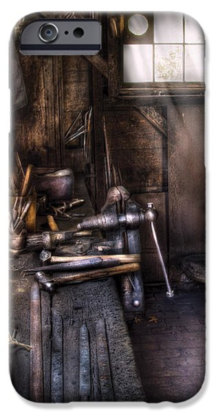 Vise iPhone Cases - Blacksmith - The Blacksmiths Shop iPhone Case by Mike Savad