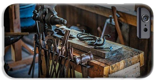 Vise iPhone Cases - Blacksmith Tools iPhone Case by Paul Freidlund