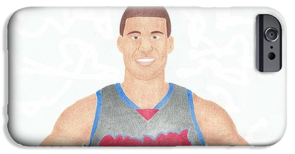 Blake Drawings iPhone Cases - Blake Griffin iPhone Case by Toni Jaso
