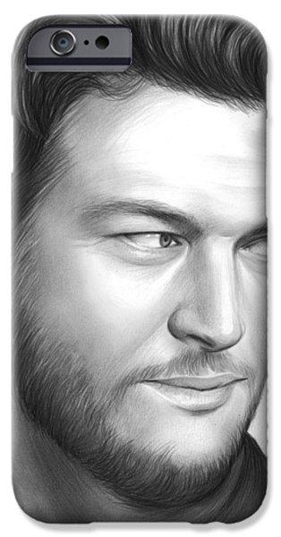 Blake Drawings iPhone Cases - Blake Shelton iPhone Case by Greg Joens