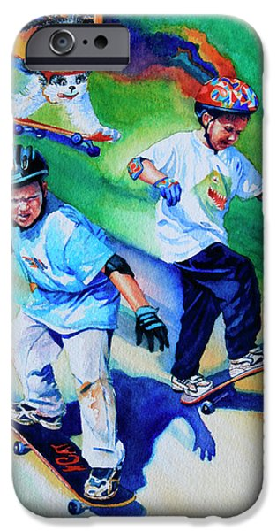 Kids Sports Art iPhone Cases - Blasting Boarders iPhone Case by Hanne Lore Koehler