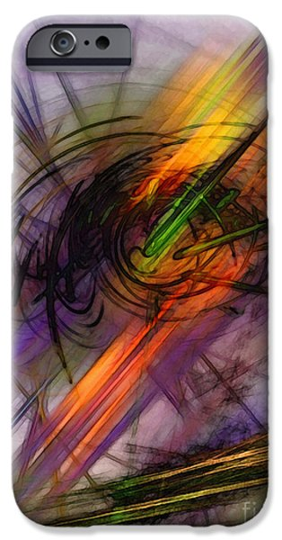 Contemplative iPhone Cases - Blazing Abstract Art iPhone Case by Karin Kuhlmann