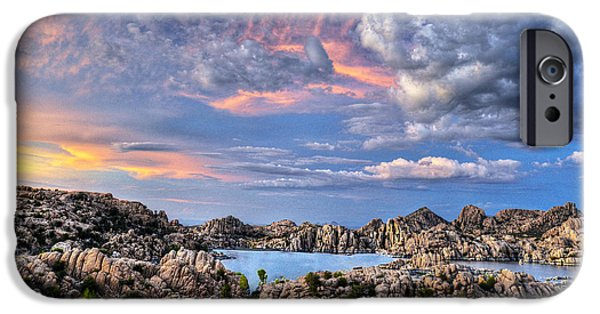 Watson Lake iPhone Cases - Blazing Skies iPhone Case by Frank Cuva