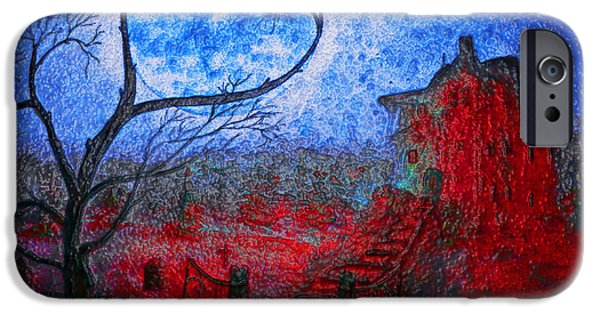 Headstones Paintings iPhone Cases - Bleeding House Glass iPhone Case by Ken Figurski