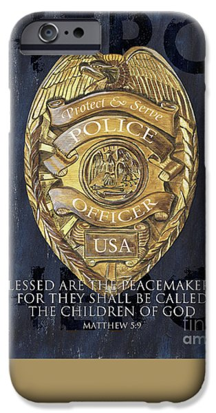 Law Enforcement iPhone Cases - Blessed are the Peacemakers iPhone Case by Debbie DeWitt