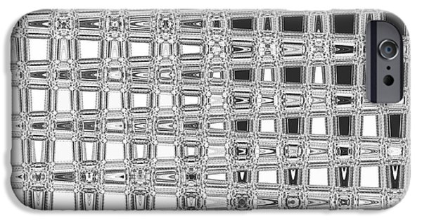 Abstract Digital Tapestries - Textiles iPhone Cases - Blocks Black iPhone Case by FabricWorks Studio