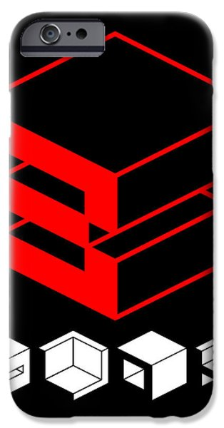Forms Digital Art iPhone Cases - Blok Poster iPhone Case by Naxart Studio