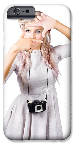 Youthful iPhone Cases - Blond woman framing picture iPhone Case by Ryan Jorgensen