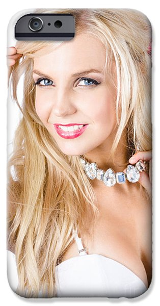 Choker iPhone Cases - Blond woman with necklace iPhone Case by Ryan Jorgensen