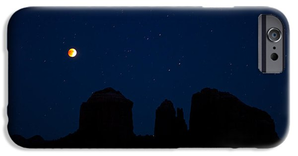 Sedona iPhone Cases - Blood Moon Over Cathedral iPhone Case by Tom Kelly