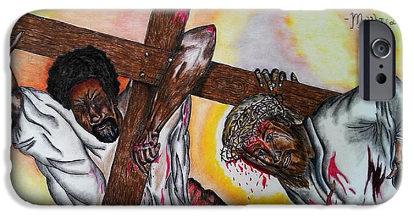 Religious Pastels iPhone Cases - Blood on the Cross iPhone Case by Neo El