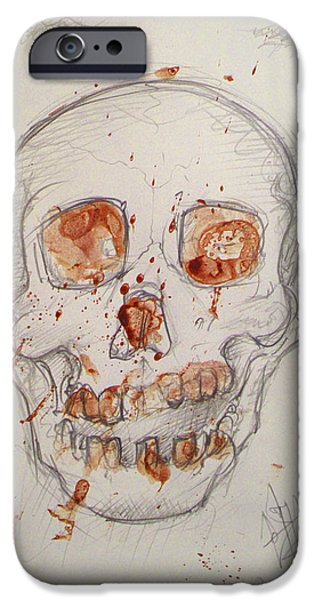 Samhane iPhone Cases - Bloodskull iPhone Case by Sam Hane