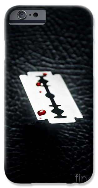 Stainless iPhone Cases - Bloody Razor iPhone Case by Carlos Caetano