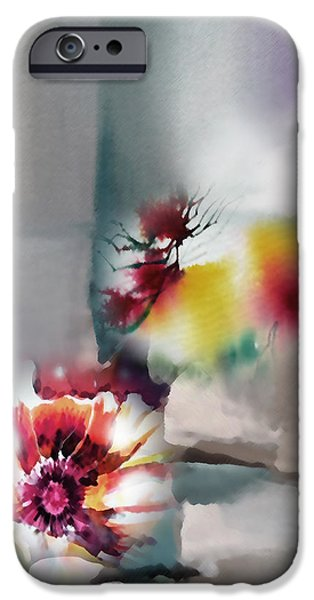Abstract Digital Mixed Media iPhone Cases - Blooms R iPhone Case by Anil Nene
