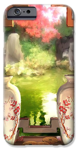 Coins Mixed Media iPhone Cases - Blossoms and Vases  iPhone Case by Joel Payne