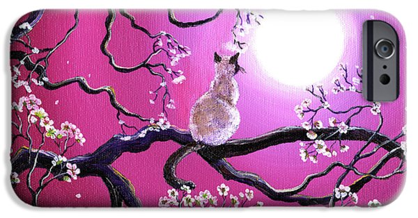Cherry Art iPhone Cases - Blossoms in Fuchsia Moonlight iPhone Case by Laura Iverson