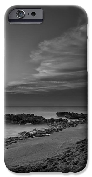 Water Photographs iPhone Cases - Blowing Rocks Black and White Sunrise iPhone Case by Andres Leon