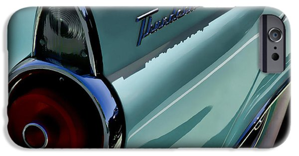 Ford iPhone Cases - Blue 1955 T-Bird iPhone Case by Douglas Pittman