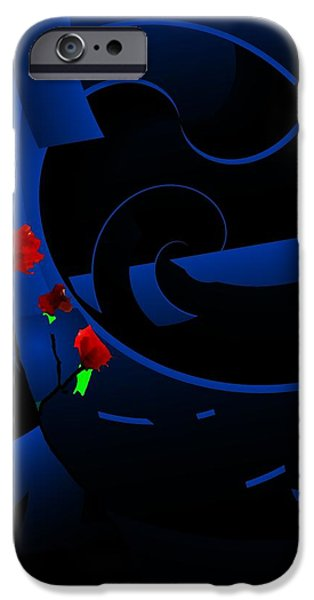 Blue Abstract iPhone Case by David Lane