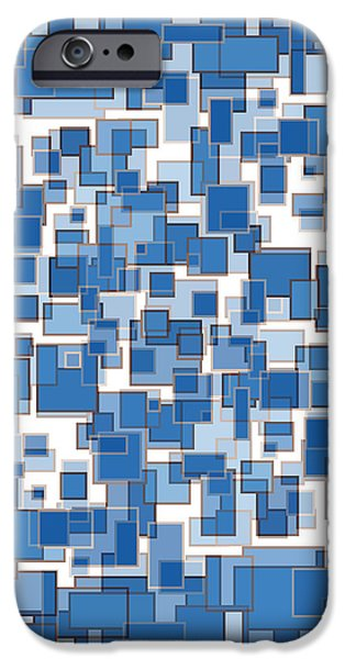 Wall Drawings iPhone Cases - Blue Abstract Patches iPhone Case by Frank Tschakert