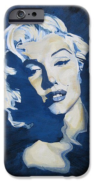 Mr. President iPhone Cases - Blue and Gold Marilyn iPhone Case by Michael Morgan