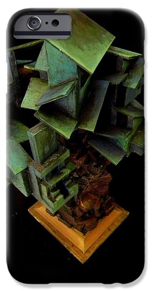House Sculptures iPhone Cases - Blue and Green Houses iPhone Case by Caleb Rogers