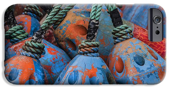 Newport Photographs iPhone Cases - Blue and Orange Fishing Buoys iPhone Case by Carol Leigh