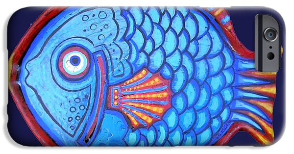Blue And Red Paintings iPhone Cases - Blue and Red Fish iPhone Case by Genevieve Esson