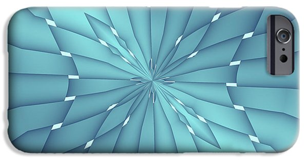 Nature Abstracts iPhone Cases - Blue and Turquoise Metallic Star iPhone Case by Lena Kouneva