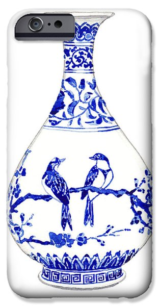 Blue And White Porcelain iPhone Cases - Blue and White Ginger Jar Chinoiserie 7 iPhone Case by Laura Row