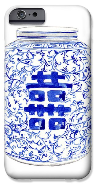 Blue And White Porcelain iPhone Cases - Blue and White Ginger Jar Chinoiserie 8 iPhone Case by Laura Row