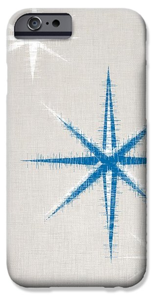 Abstract Digital Photographs iPhone Cases - Blue and White Stars iPhone Case by Bri Lou