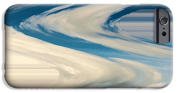 Modern Abstract iPhone Cases - Blue And White Swirls iPhone Case by Cynthia Guinn